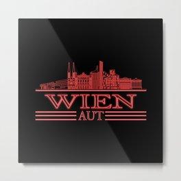 Vienna Skyline Austria City Silhouette Travel Metal Print