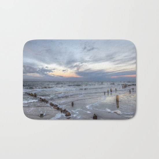 Cold sundown at the beach Bath Mat