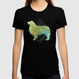 Modern Australian Shepherd Dog Watercolor Stripes T-shirt