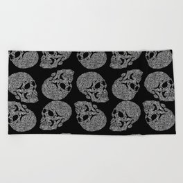 Skull doodle pattern - white on black - trippy art Beach Towel