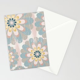 Distressed Floral Pattern in Muted Blush Pink Teal Yellow Stationery Cards
