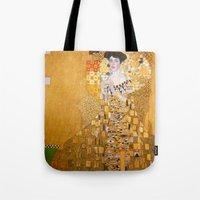 gustav klimt Tote Bags featuring Gustav Klimt - The Woman in Gold by Elegant Chaos Gallery