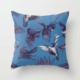 navy birds Throw Pillow