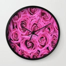 Romantic rose pink blooming roses Wall Clock