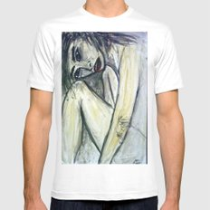 NUDE IN DEEP THOUGHTS SMALL White Mens Fitted Tee