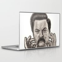 ron swanson Laptop & iPad Skins featuring Ron Swanson by Leslie @ PoeDesigns.com
