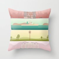 wes anderson Throw Pillows featuring A Wes Anderson Collection by George Townley