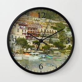 Positano Coastline Wall Clock