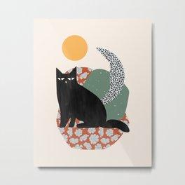Floral Cat Metal Print