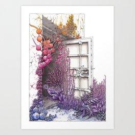 Bunker Door with Rainbow Nature Taking Over Art Print