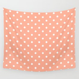 Bright Peach with White Polka Dots Wall Tapestry