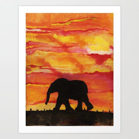 Baby Elephant Sunset Landscape Art Print