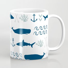 nautical whales sharks and anchors in navy grey white kids nursery boys girls decor Coffee Mug