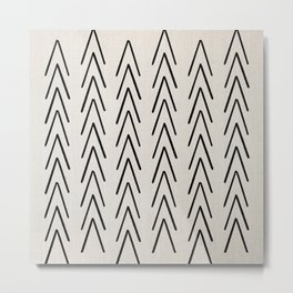 Mudcloth Black Geometric Shapes in White-ARROWS 4 Metal Print