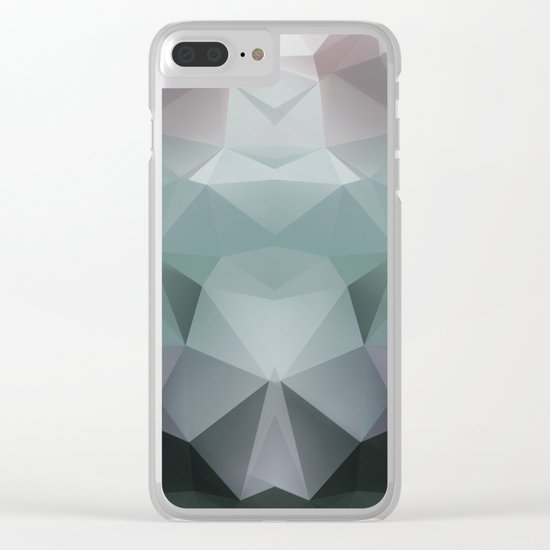 Abstract geometric polygonal pattern in grey and green tones . Clear iPhone Case