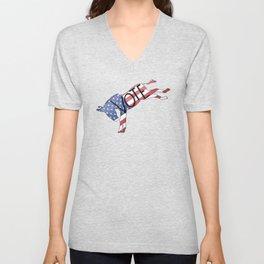 Vote Democrat Donkey Distressed USA Flag Design Unisex V-Neck