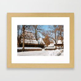 Season Greetings from a picturesque Romanian Village Framed Art Print