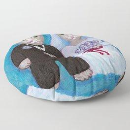 Bride and Groom Cats Floor Pillow