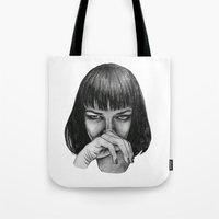 mia wallace Tote Bags featuring Mia Wallace by Rebecca Hådell