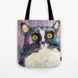 Big eyed tuxedo cat Tote Bag