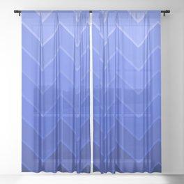 Gradient Blue Zig-Zags Sheer Curtain