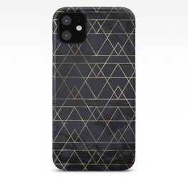 Modern Deco Gold and Marble Geometric Mountains on Navy Blue iPhone Case