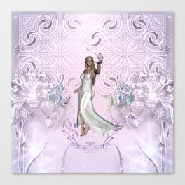 Wonderful fairy with dove and butterflies Canvas Print