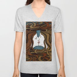 Two Faces Kissing by Peter Behrens  Unisex V-Neck