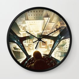Nose Dive Into the City by T. Crali Wall Clock