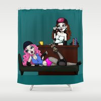 roller derby Shower Curtains featuring Roller Derby Therapy by RonkyTonk