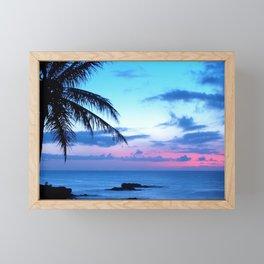Tropical Island Beach Ocean Pink Blue Sunset Photo Framed Mini Art Print