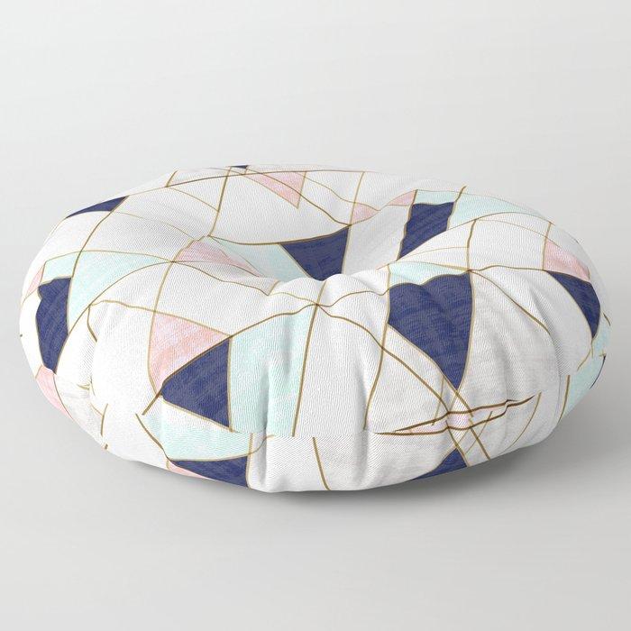 Mod Triangles - Navy Blush Mint Floor Pillow