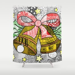Coloured Christmas Bells Shower Curtain