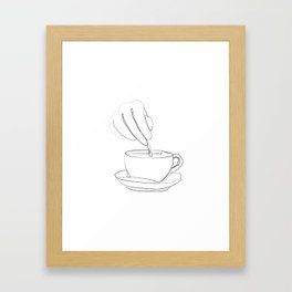 """ Kitchen Collection "" - Hand mixing coffee with a spoon Framed Art Print"