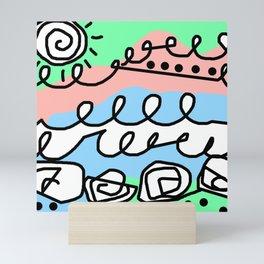 Crashing Wave - Black White Green Blue Mini Art Print