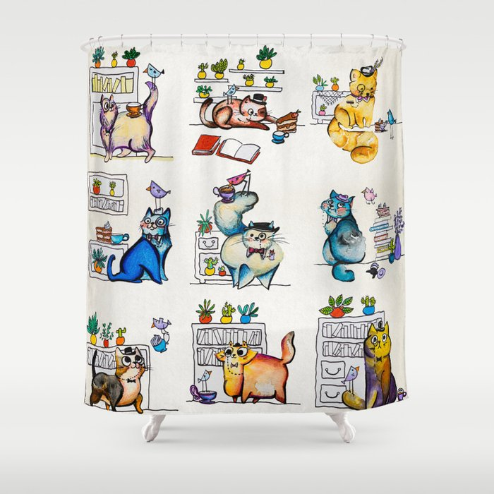 Cat In A Hat Shower Curtain By Dudessdude