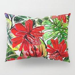 Exotic Passiflora Flowers Jungle Aloha Pattern Pillow Sham