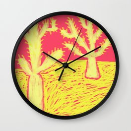 Yellow Cacti Wall Clock