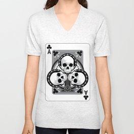 Skull Ace of Clubs Unisex V-Neck