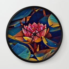 Painted Waterlily Wall Clock