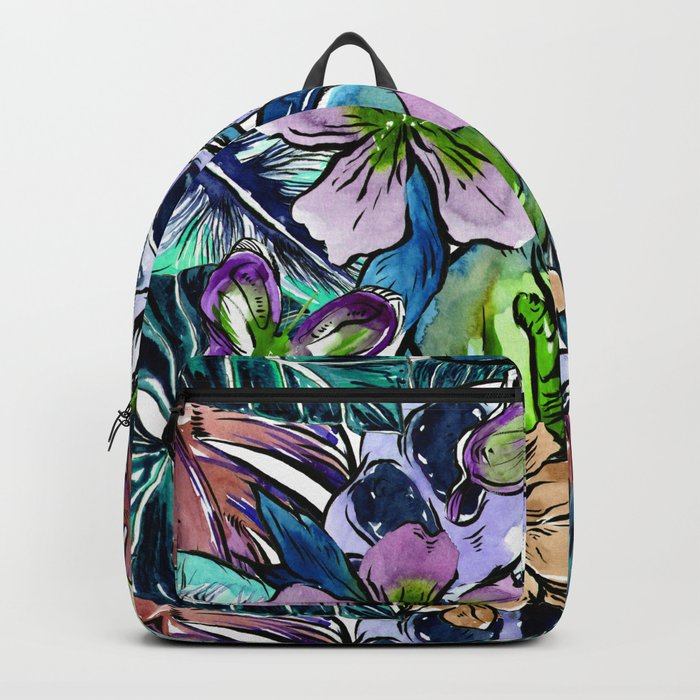 Tropical Blue Flower Hibiscus Garden Backpack
