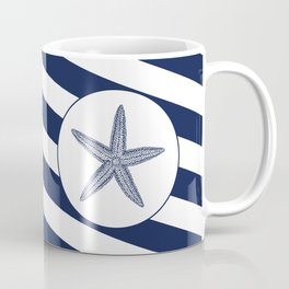 Nautical Starfish Navy Blue & White Stripes Beach Coffee Mug
