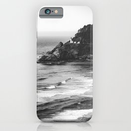Pacific Northwest Grandeur - Heceda Lighthouse Black and White iPhone Case
