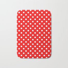 Small Polka Dots - White on Red Bath Mat