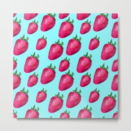 Fun Summery Strawberry Print With Light Blue Background! (Large Scale) Metal Print