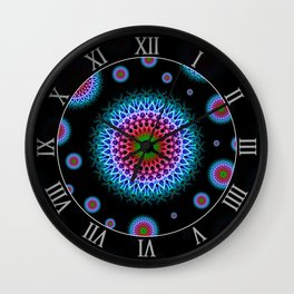 Mandala pattern in blue, red and green colours Wall Clock