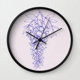 Wisteria Flower Line Art Wall Clock