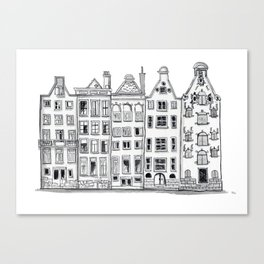 Amsterdam Canal Houses Sketch Canvas Print