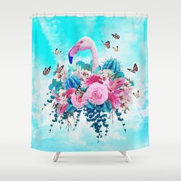 FLORAL FLAMINGO Shower Curtain
