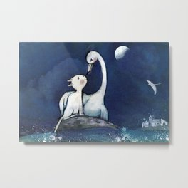 the cat and the heron, a different love .... Metal Print